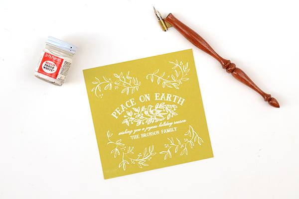 PeaceCard Step3 DIY Tutorial: Vine and Berries Holiday Card