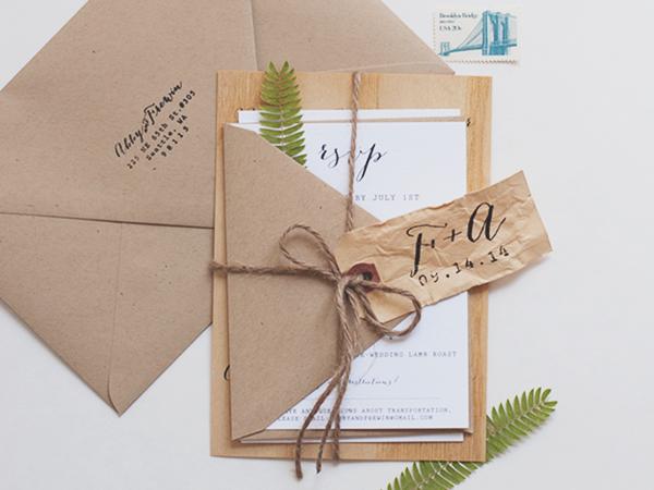 Wood Veneer Wedding Invitation Anelise Salvo Design OSBP Abby + Frewins Modern Rustic Wood Veneer Wedding Invitations