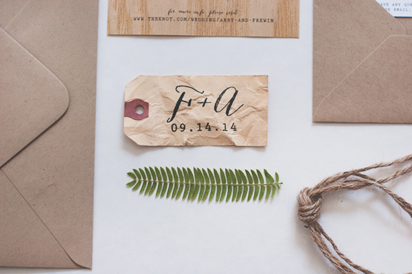 Wood Veneer Wedding Invitation Anelise Salvo Design OSBP2 Abby + Frewins Modern Rustic Wood Veneer Wedding Invitations