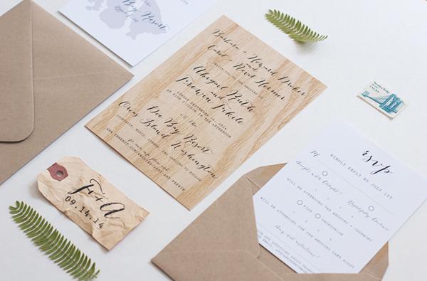 Wood Veneer Wedding Invitation Anelise Salvo Design OSBP7 Abby + Frewins Modern Rustic Wood Veneer Wedding Invitations