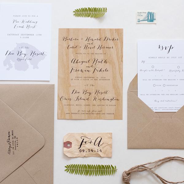 Wood Veneer Wedding Invitation Anelise Salvo Design OSBP8 Abby + Frewins Modern Rustic Wood Veneer Wedding Invitations