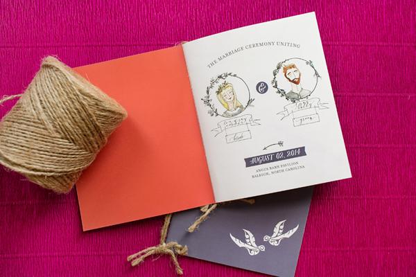 Modern Boho Illustrated Wedding Ceremony Program Atheneum Creative OSBP2 Lindsay and Ryans Illustrated Wedding Ceremony Programs