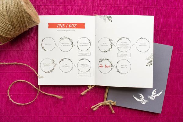 Modern Boho Illustrated Wedding Ceremony Program Atheneum Creative OSBP3 Lindsay and Ryans Illustrated Wedding Ceremony Programs