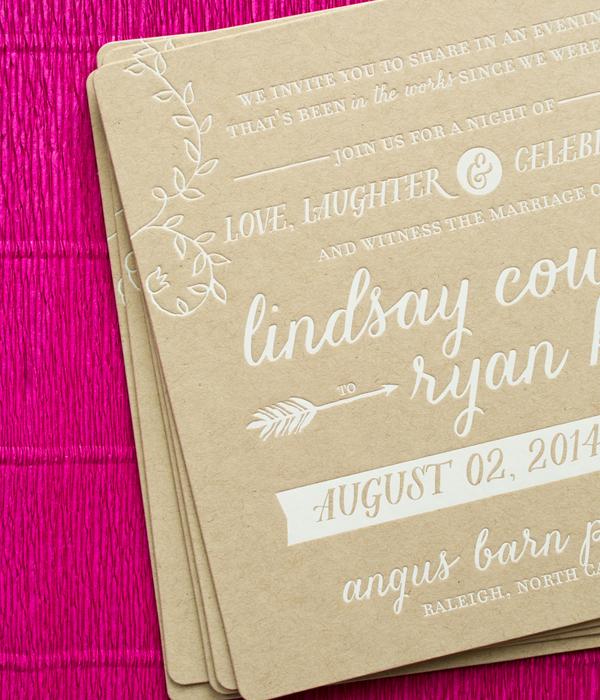 Modern Boho Illustrated Wedding Invitations Atheneum Creative OSBP7 Lindasy + Ryans Modern Boho Wedding Invitations