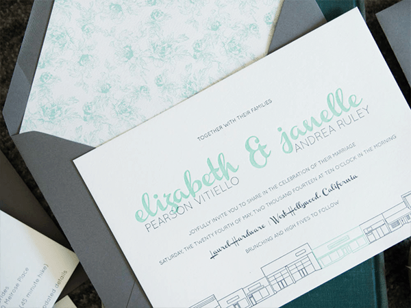 Modern Mint Gray Wedding Invitations Bright Room Studio OSBP Elizabeth + Janelles Modern Mint and Gray Wedding Invitations