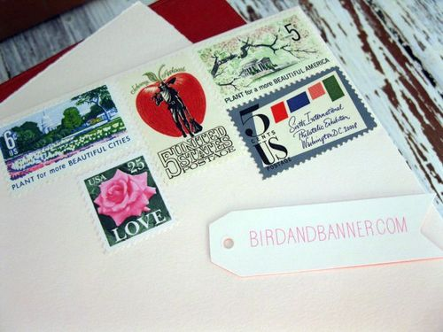 6a00e554ee8a2288330120a53d41b9970c 500wi Bird and Banner + Vintage Stamps