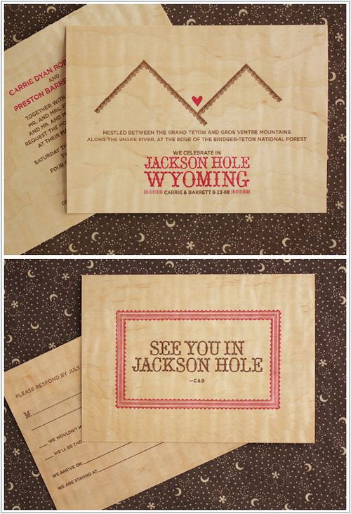 6a00e554ee8a2288330120a679fc2d970c 500wi Carrie + Barretts Wood Veneer Mountain Wedding Invitations