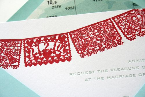 6a00e554ee8a2288330120a7840946970b 500wi Red + Aqua Papel Picado Wedding Invitations