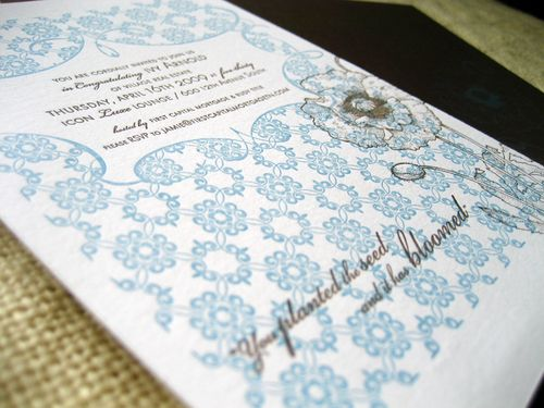 6a00e554ee8a2288330120a788198b970b 500wi Blue + Brown Floral Letterpress Invitations