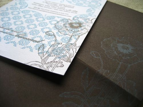 6a00e554ee8a2288330120a78819a2970b 500wi Blue + Brown Floral Letterpress Invitations