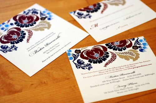 6a00e554ee8a2288330120a923cd0d970b 500wi Melissa + Georges Vibrant Folk Art Wedding Invitations