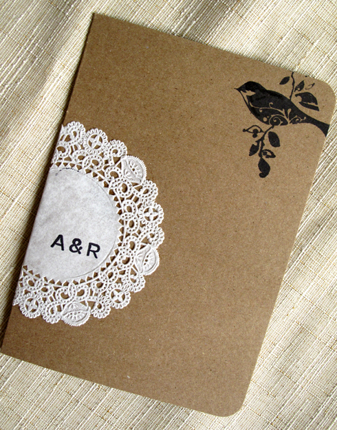 6a00e554ee8a2288330133ec5c6257970b 500wi Raechel + Alexs Crafty Doily and Kraft Paper Wedding Invitations