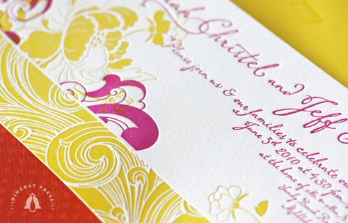 6a00e554ee8a22883301347fd57962970c 500wi Sarah + Jeffs Modern Floral Pink and Yellow Wedding Invitations