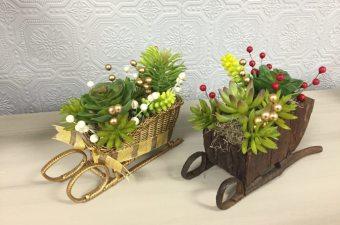 Faux Succulent Christmas Planters