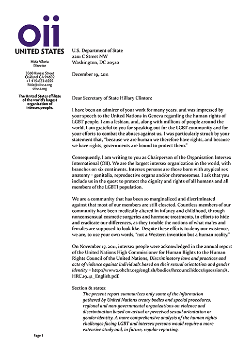OII Chairperson Hida Viloria's letter to US Secretary of State requesting full and equal inclusion of intersex people - some 4% of the global population - in US government LGBT human rights reforms, extending them into LGBTI human rights reforms, page 1.