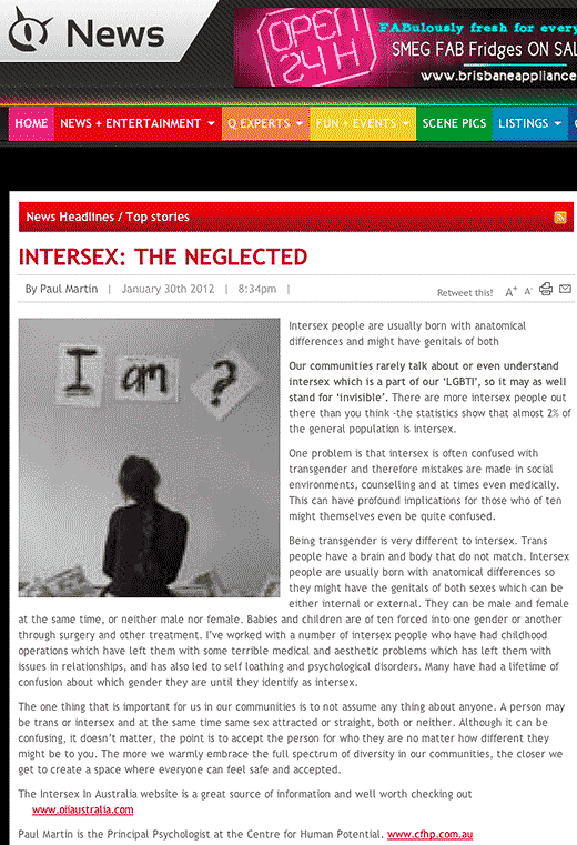Q News: Intersex: the Neglected - click to read this article.