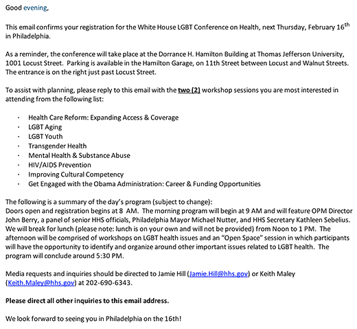The White House LGBT Conference on Health, Thursday, February 16th in Philadelphia - screenshot of email.