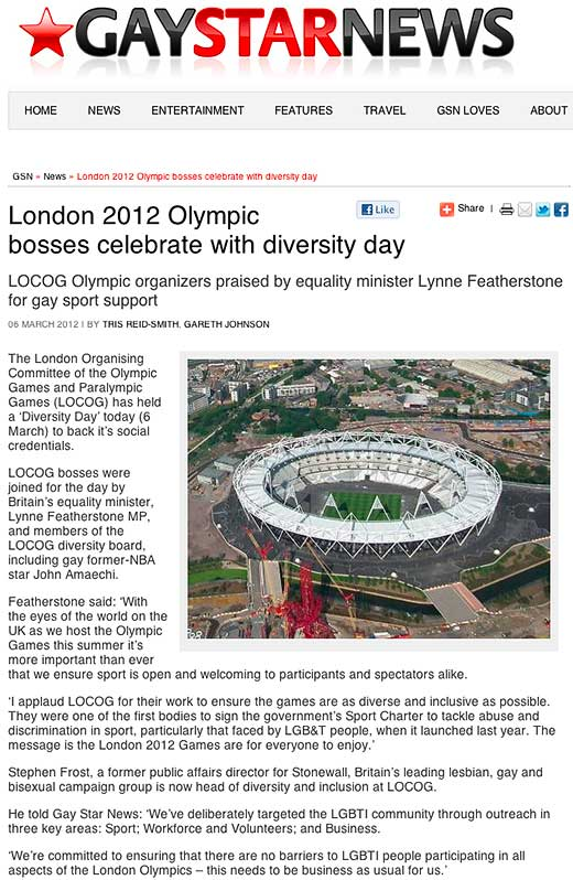 Gay Star News: London 2012 Olympic bosses celebrate with diversity day - click to read this article.