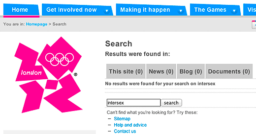 Screenshot of search results using the term intersex at London Organising Committee of the Olympic and Paralympic Games (LOCOG) website, March 11, 2012.