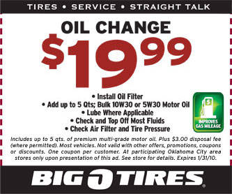 Big O Tire oil change coupon