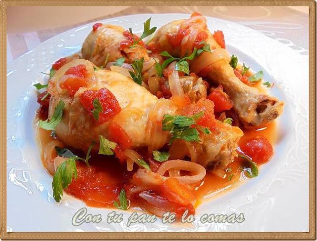 Muslitos de pollo con tomate y cerveza