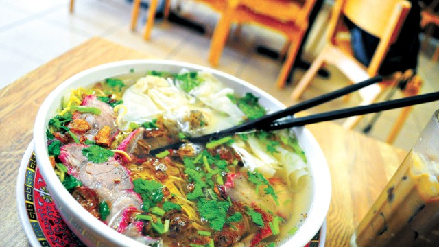 BBQ pork and wonton egg noodle soup at Lang's Bakery in Oklahoma City. Photo by Lauren Hamilton