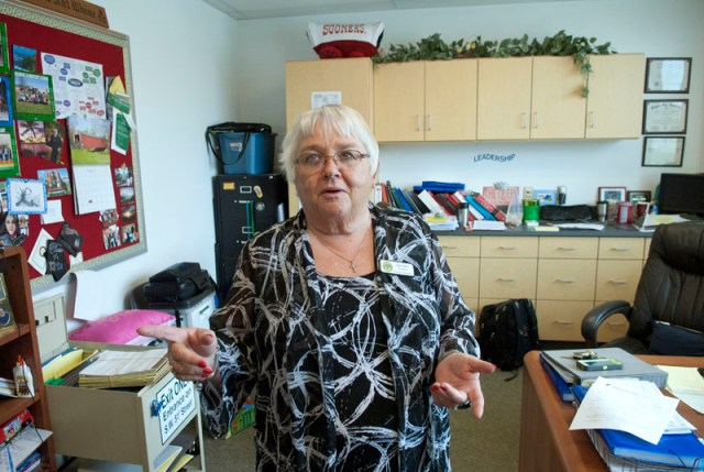 Principal Susan Martin office reflects her busyness at Fillmore Elementary School in OKC. (Mark Hancock)