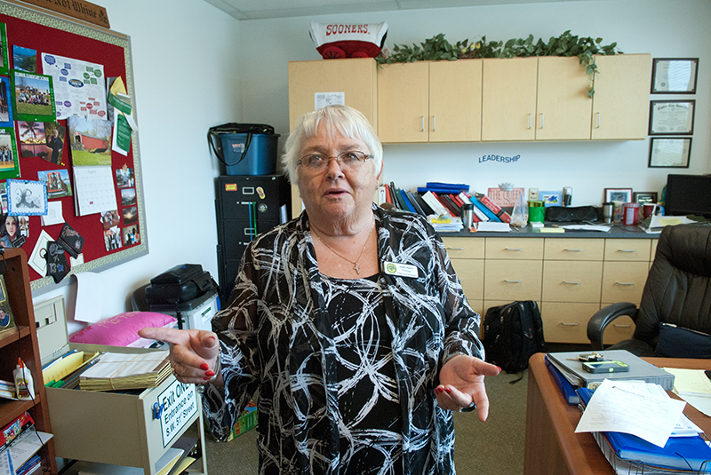 Principal Susan Martin-Rachels' office reflects her busyness at Fillmore Elementary School in OKC.  (Mark Hancock)
