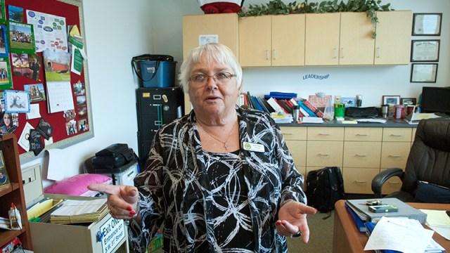 Principal Susan Martin-Rachels' office reflects her busyness at Fillmore Elementary School in OKC.  (Mark Hancock)