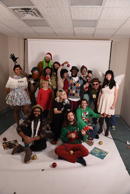 "From left, Clarissa ""Cid"" Castillo (in white shawl), ""The Reverend"" Justin Hogan (in knit beard) and Taylor ""Shraz"" Mercier (tan fedora) are Bowley having a ball at <em>Oklahoma Gazette</em>'s most recent cover shoot. Matt Duckworth is in the far back with green hair. The toe-headed young Lucas Bell stands in for his daddy, Trent Bell. You'll meet everyone else in a minute! (Mark Hancock)"