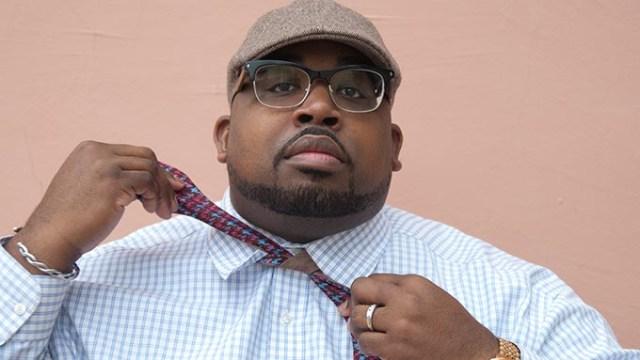 Ron Jordan ties one of his custom Bow Ties.  mh