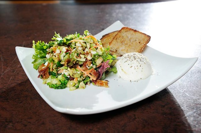 Warm Brussels sprout and baby kale salad from Cafe 501