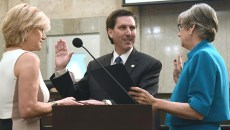New Ward 8 OKC Councilman, Mark Stonecipher, takes the oath of office at Tuesday's meeting. (Mark Hancock)