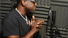 "Lamar ""L-Smooth"" Mensa in the vocal booth at Inferno Factory where he records.  mh"