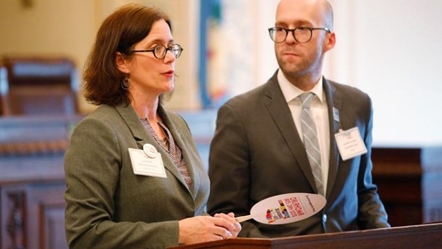 Julia Kirt and Jonathan Fowler speak during Oklahoma Arts Day 2015 at the Oklahoma State Capitol. (Garett Fisbeck)