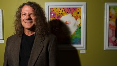 owner of gallery Verbode Steven Kovash stands in front of an artist work he's curating at 415 N Broadway in Oklahoma City, Oklahoma, monday, june 22, 2015 (Keaton Draper)