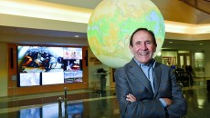 Dr. Berrien Moore, Dean of the College of Atmospheric & Geographic Sciences and the Director of the Nation Weather Center in Norman, in the central atrium near the entrance at the National Weather Center in Norman.  mh