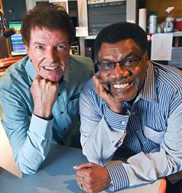 Left, Jack Elliott and Ron Williams, moring radio hosts at Kiss Fm.  mh