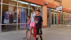 Crystal Young shops with her kids, Emmy and Brody, at The Outlet Shoppes at Oklahoma City.  mh
