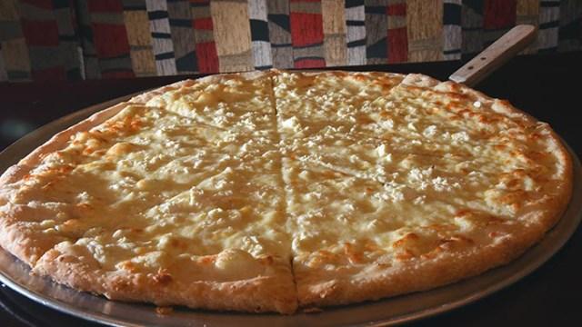 Quattro Formaggio pizza at Sandro's New York Style Pizza & Pasta in Moore.  mh