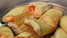 Just-steamed tamales, at Portland Shamrock.  mh