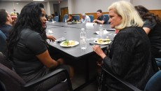 Kiaralexis Rogers, left, and other Members of the Youth Council meet and eat with OKC Council Members, including Meg Salyer, at right, 8-21-15 in the city offices at 420 West Main.  mh