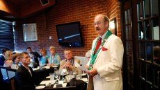 Phillip Jody speaks during a meeting of The Chaine des Rotisseurs at Opus Prime Steakhouse in Oklahoma City, Saturday, July 25, 2015.  (Garett Fisbeck)