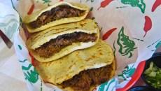 3 beef barbacoa gorditas in corn tortillas, at Gorditas Mexican Kitchen, 11-2-15, in southwest OKC.  (Mark Hancock)