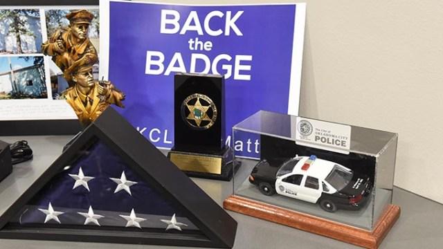 Memorabilia in the conference room at FOP Lodge 123 in Oklahoma City, 12-11-15.  (Mark Hancock)