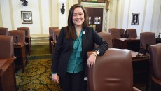 Newly elected Cyndi Munson, House District 85, stands next to her desk on the House floor at the Oklahoma State Capitol, 12-18-15.  (Mark Hancock)