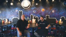 From left, owner, Jerry Coles and head chef, Nick Carson, strike a pose in front of a new mural in their newly reopened, Smokies BBQ, on N. Portland Avenue in OKC, 11-17-15.  (Mark Hancock)