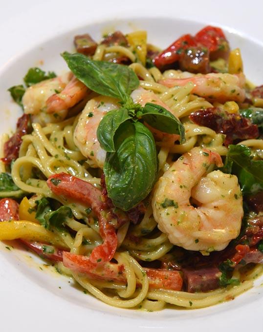 Shrimp pasta at Stella in Midtown. (Mark Hancock)