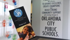 The Foundation for Oklahoma City Public Schools Pledge Card, in the entrace to their offices in Downtown Oklahoma City, 1-22-16.  (Mark Hancock)
