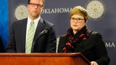 Rep. Jason Dunnington and Rep. Emily Virgin answer question during an Equal Pay for Equal Work Bill press conference at the Oklahoma State Capitol, Jan. 27, 2015.  (Garett Fisbeck)